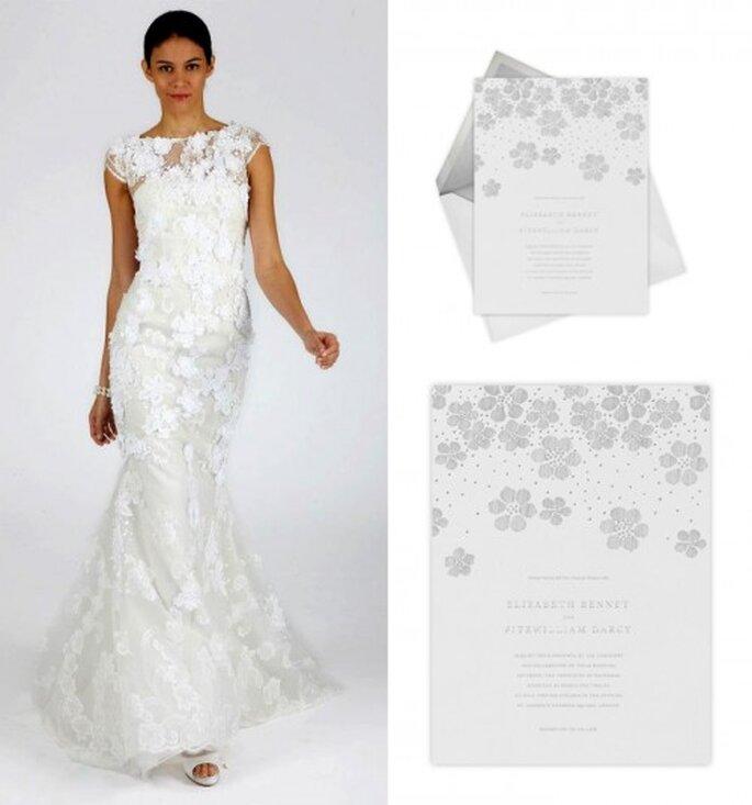 Invitación de boda elegante en color blanco - Foto Oscar de la Renta, Paperless Post