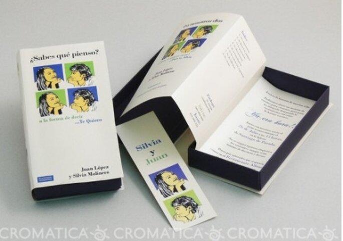 """Invitación de boda en """"Libro"""", diseño de Organiza Regalos"""
