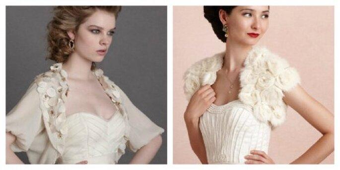 Quoi de mieux qu'un boléro pour mettre en valeur les épaules de la mariée ? – Photo: bhldn
