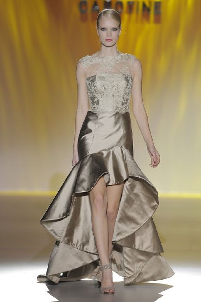 Vestido de fiesta dorado de Cabotine 2014