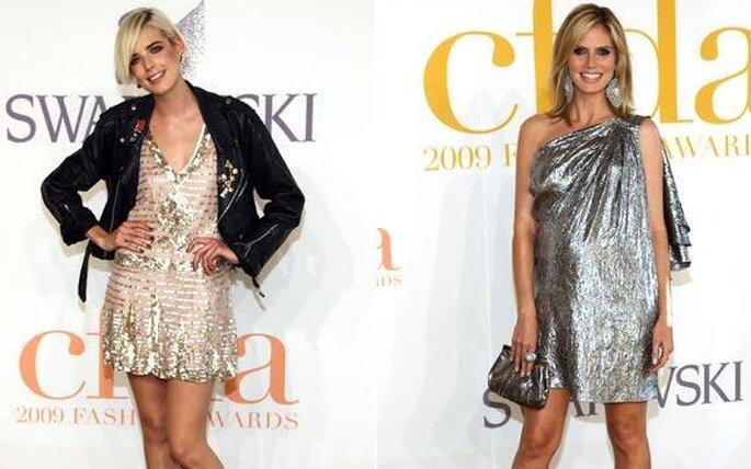 Agyness Deyn y la modelo Heidi Klum lucen vestidos mini en colores metálicos para la entrega de los premios CFDA
