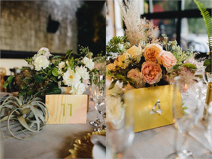 Centros de mesa para boda. Foto de Sweet Little Photographs.