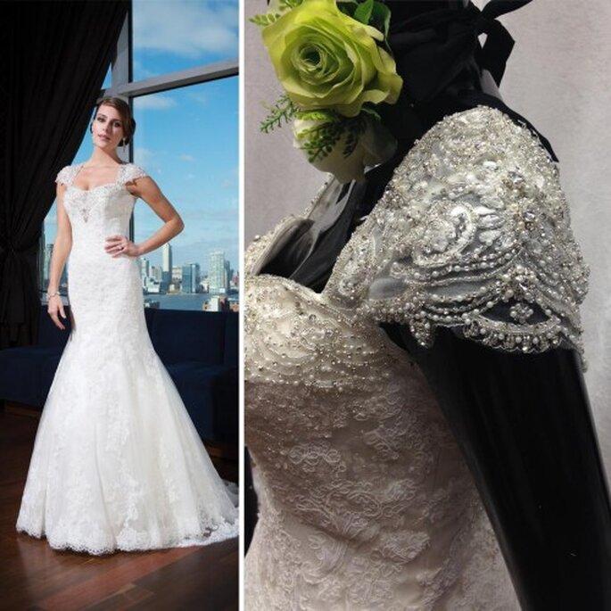 Vestido de novia con mangas cortas plagadas de apliques - Foto Justin Alexander