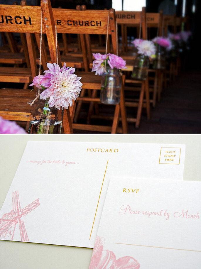 Invitaciones para un estilo vintage romántico. Fotos: Robert Francis & Sarah Parrott
