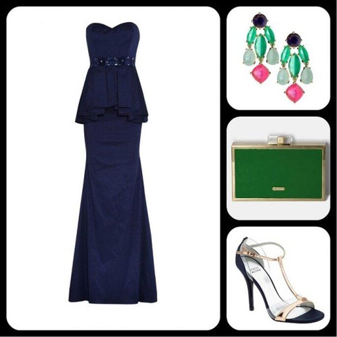 Complementa el vestido con accesorios trendy y relucientes - Fotos: vestido de Badgley Mischka, aretes de Kate Spade New York, clutch de Vince Camuto y sandalias de Stuart Weitzman