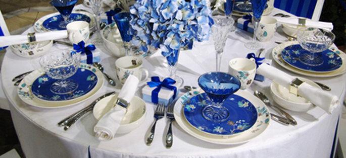 Hochzeitsdekoration in weiß-blau - Foto: Rainer Sturm / pixelio.de