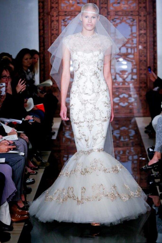 Vestido de novia 2014 con detalles metálicos - Foto Reem Acra