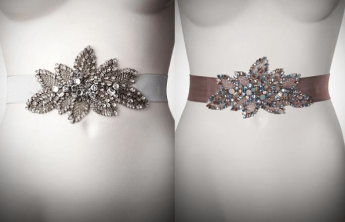 cinturones de pedrería para vestido de novia con formas de flores y hojas - Foto Jenny Packham