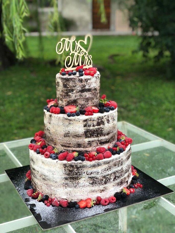 torta nuziale cioccolato e frutta