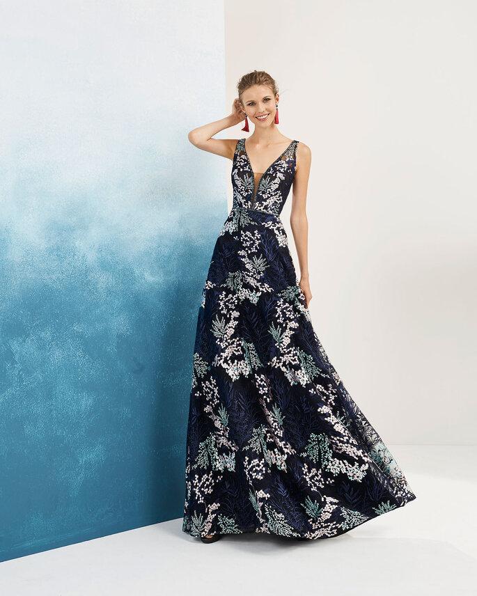 Vestido de fiesta estampado maxi flores y con escote en V