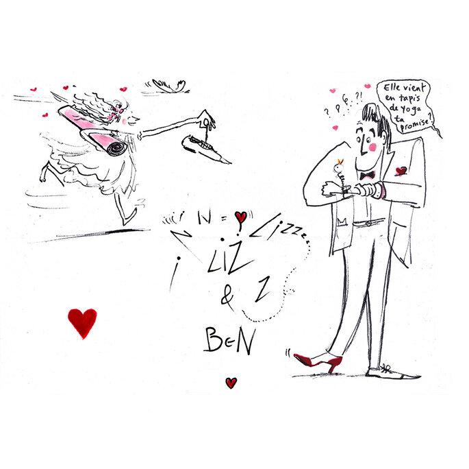 Faire-part dessinés à la main par Croqueuse de mariage à Paris
