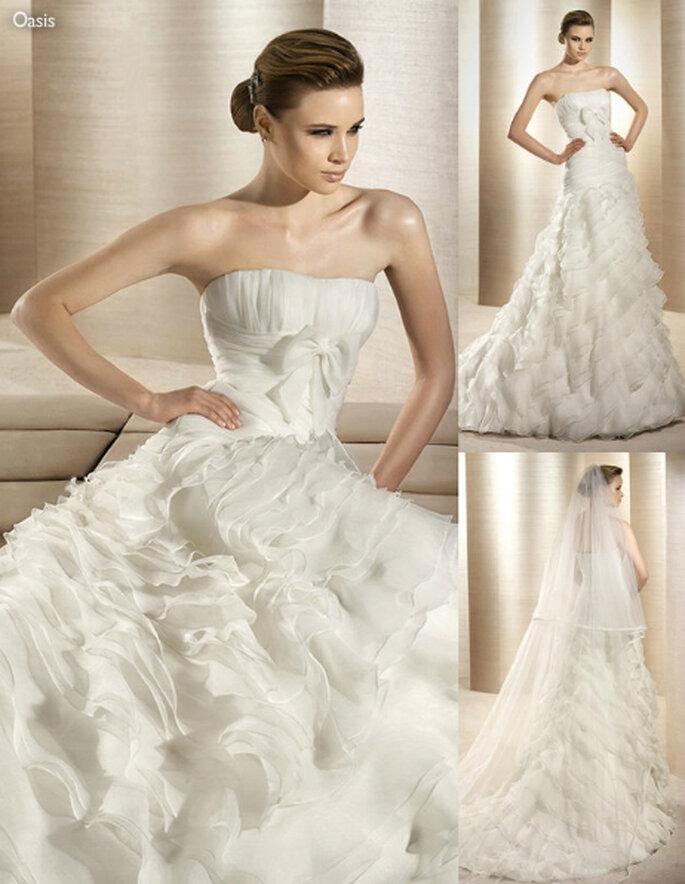 Vestido de novia con olanes en la falda - Foto: Atelier Diagonal