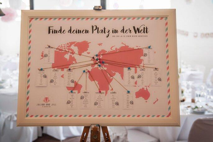 Tischplan Hochzeit Weltkarte