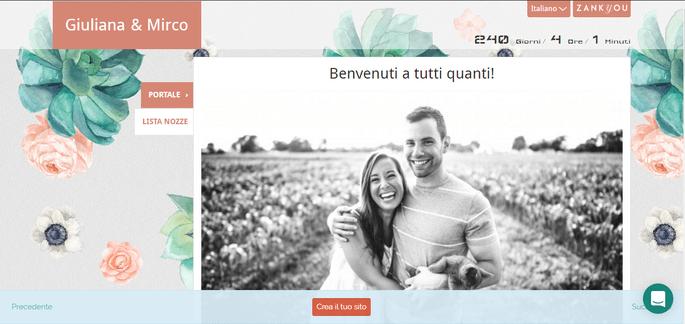 Sito web di nozze con Zankyou