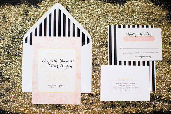 El patrón del blanco y negro en tus invitaciones de boda - Foto Robyn Van Dyke Photography