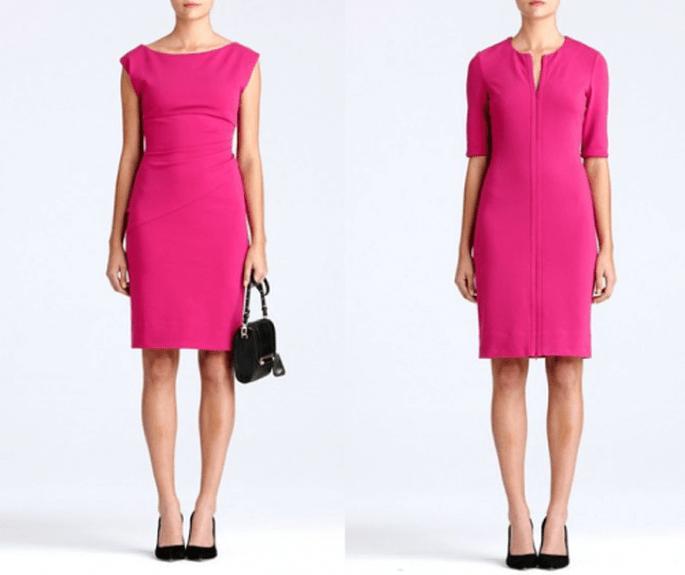 vestido sencillos y elegantes en color rosa intenso para usar en San Valentín - Foto DVF