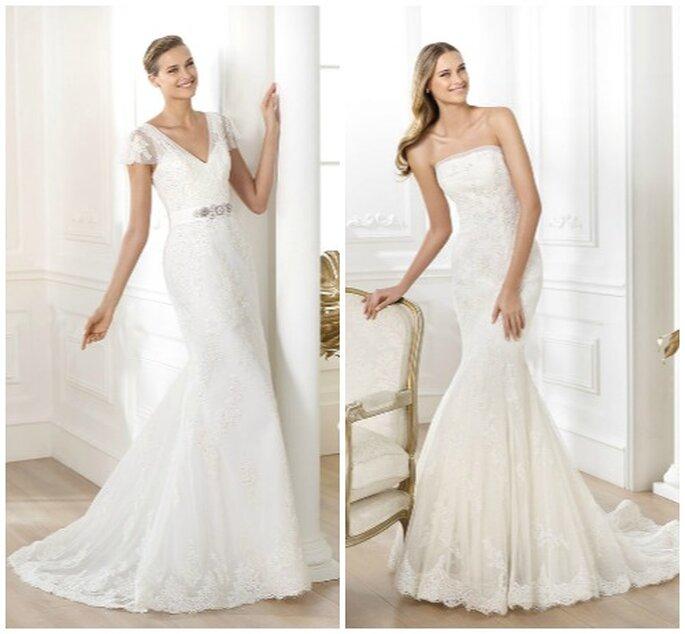 Due modelli semplici ed eleganti. A sinistra Mod. LIANELA Collezione Costura, a destra Mod. LEXI Collezione Fashion. Pronovias 2014. Foto: www.pronovias.it