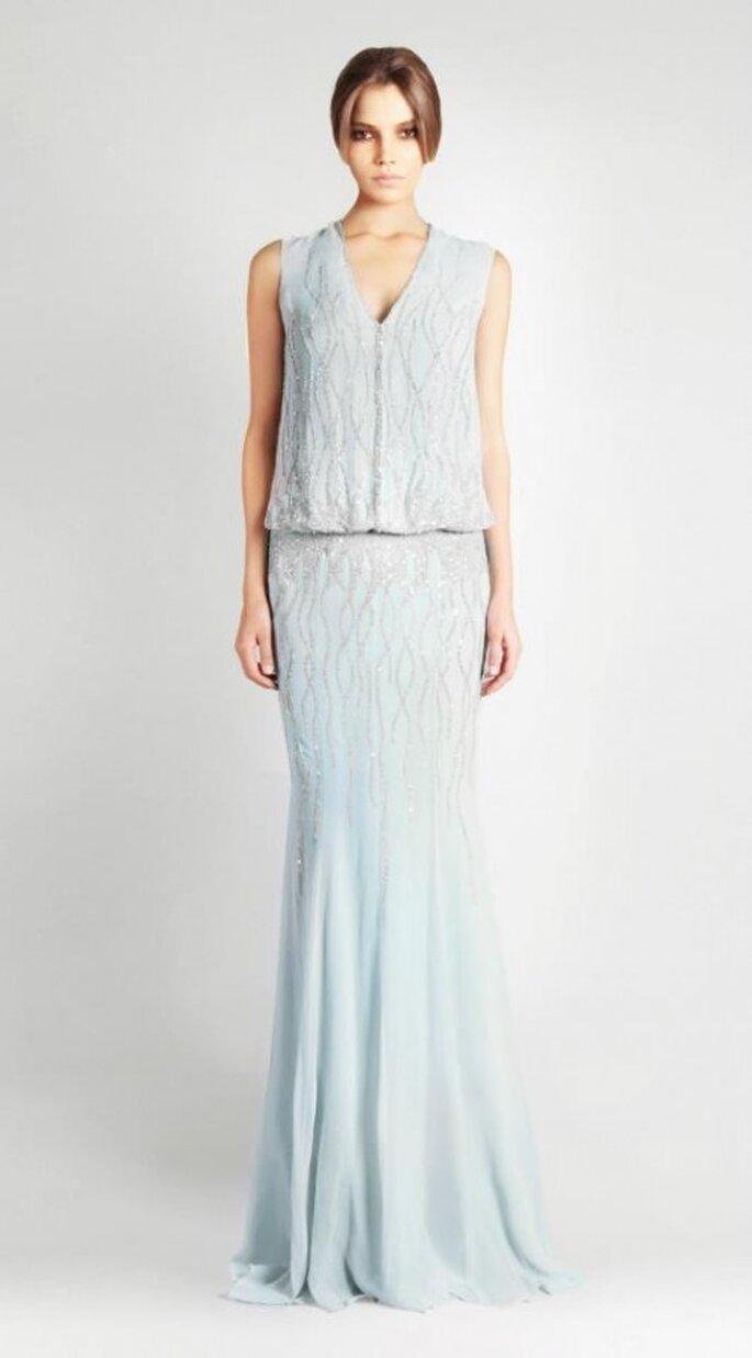 Vestido de novia 2013 largo en color azul claro - Foto Georges Hobeika