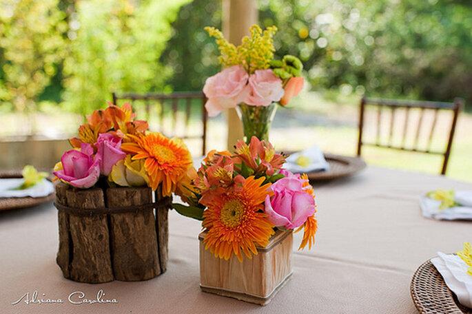 Centros de mesa para boda. Foto de Adriana Carolina.