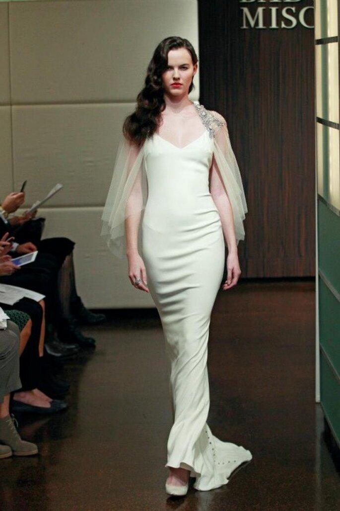 Vestido de novia 2014 con tendencia minimalista - Foto Badgley Mischka