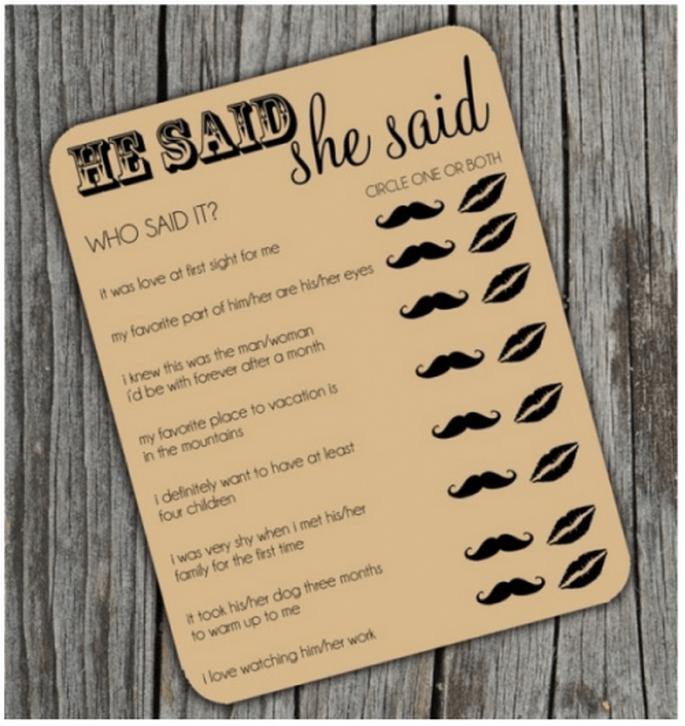 Jeu des questions et réponses pour vos invités - Image Etsy