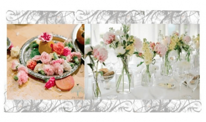 Centres de table et bouquets de mariée rose pastel - Photos Jen Lynne et Nadia Meli