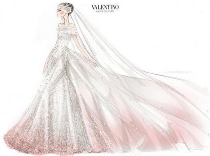 Boceto del vestido de novia de Anne Hathaway por Valentino