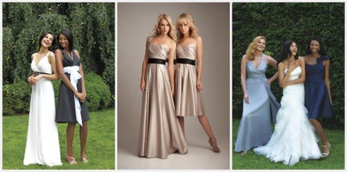 3 estilos en trajes laros y cortos para damas de honor. Fotos:  Allure Bridesmade