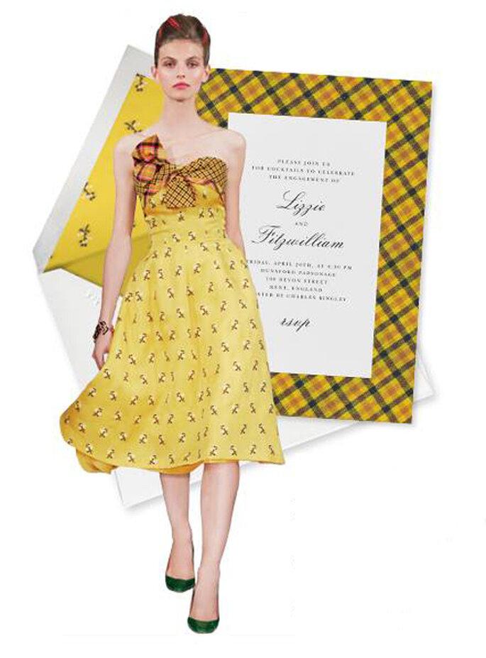 Elegante invitación de boda en con estampados modernos en color amarillo - Foto Oscar de la Renta Facebook
