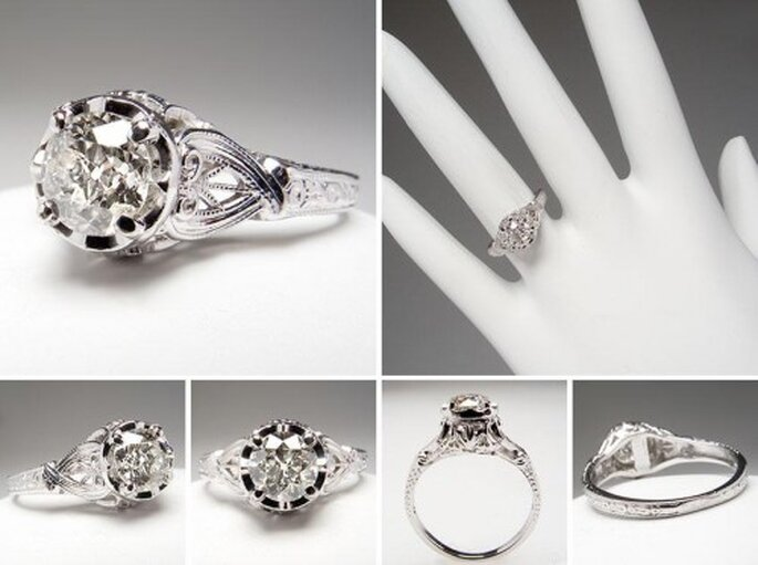 Anillo de compromiso estilo antiguo de diamante - Foto Eragem