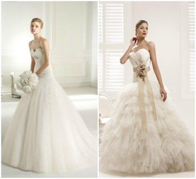 Due proposte di abito da sposa con gonna in tulle. A sinistra Atelier Diagonal 2013, a destra Colet 2013 by Nicole Spose.