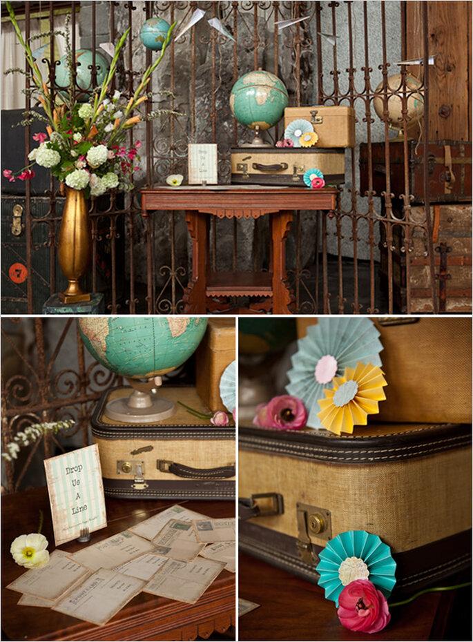 Decoración de boda inspirada en viajes - Foto Tracie Howe Photography