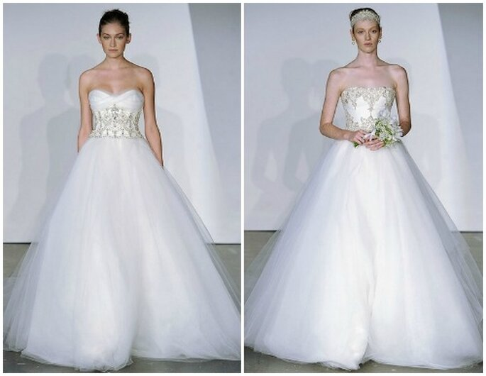 Ampia e romantica la gonna in tulle di questi abiti Marchesa Fall 2013 Bridal Collection. Foto: www.marchesa.com