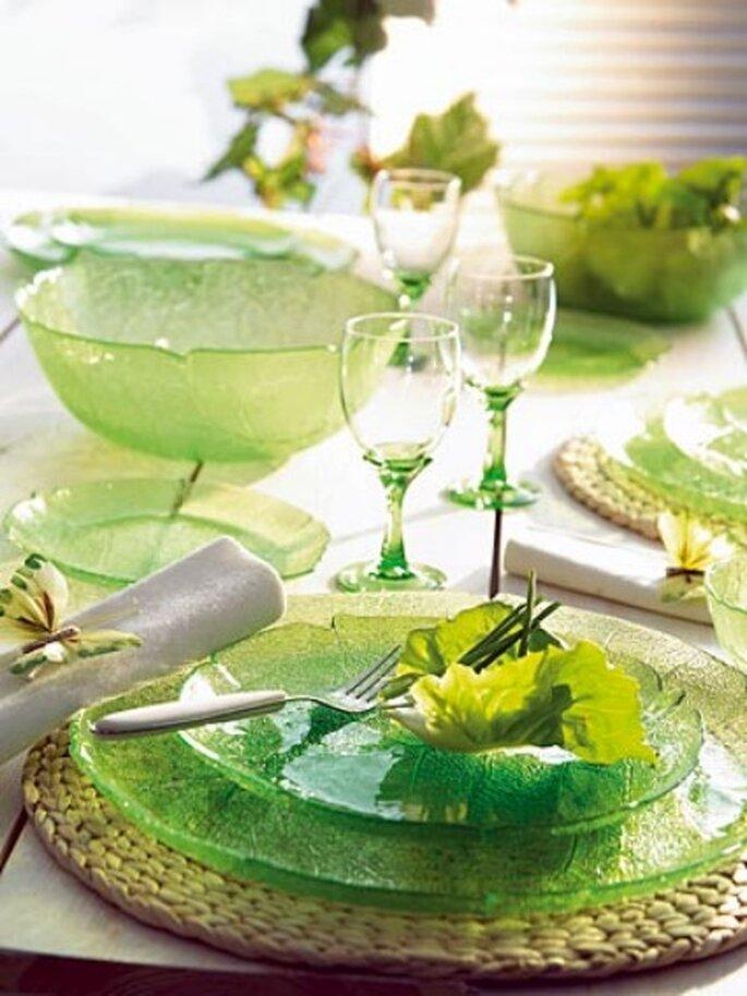 Vajilla cristal verde