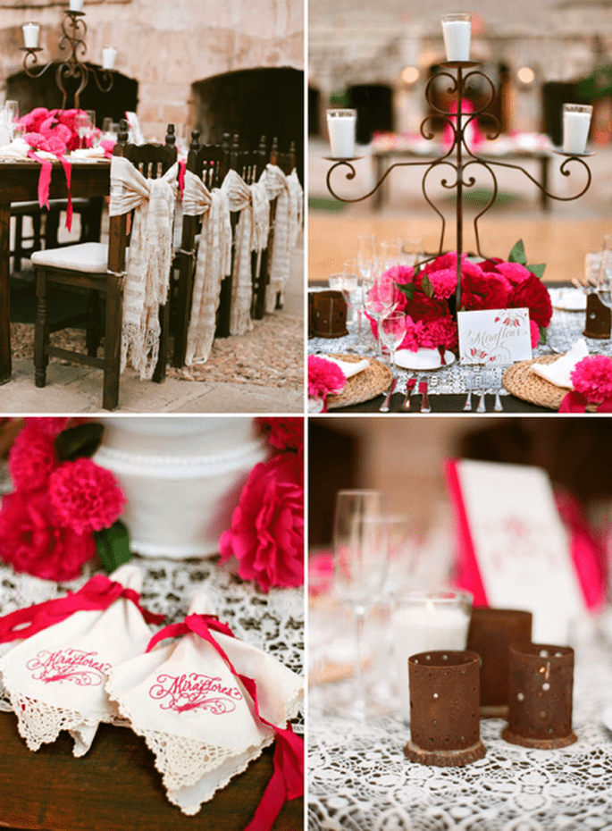 Banquete decorado con rosa mexicano - Foto Aaron Delesie
