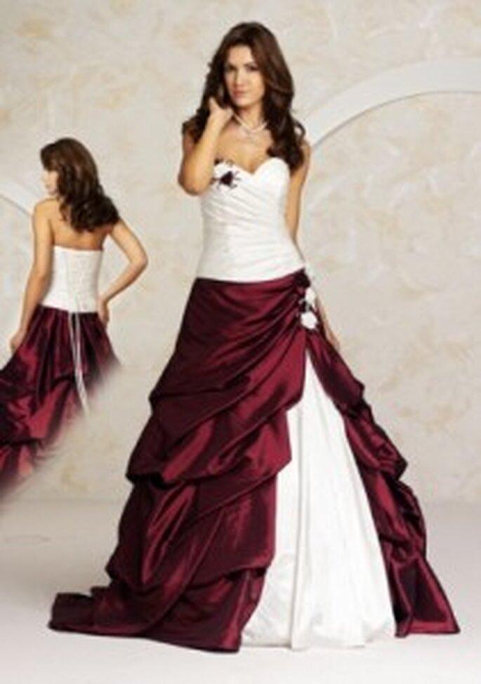 Valérie 2010 Waging - Schulterfreies Prinzessinnenkleid mit Korsage und bordeauxrotem Überrock