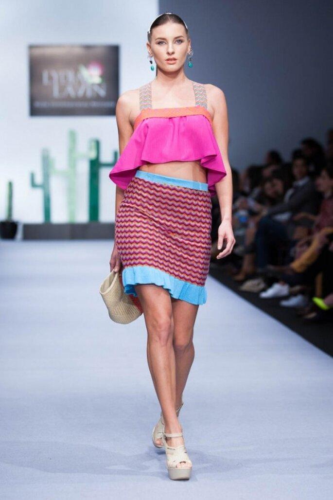 Vestidos para luna de miel con inspiraciones culturales mexicanas - Foto Lydia Lavín en MBFWMX