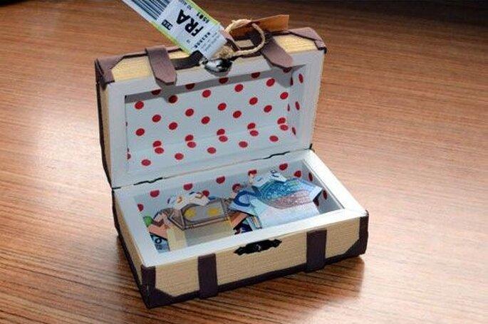 Como dar dinheiro para os noivos de forma original - Mini mala recheada de dinheiro