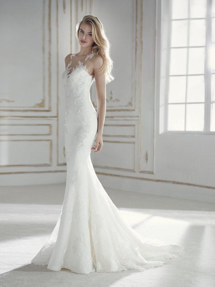 Vestido de novia corte sirena escote ilusión