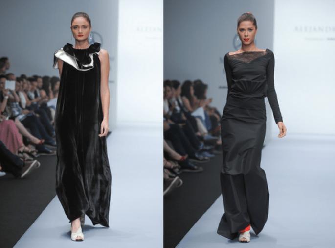 Vestidos de fiesta largos en color negro con escotes extendidos y detalles de terciopelo - Foto Mercedes Benz Fashion Week México