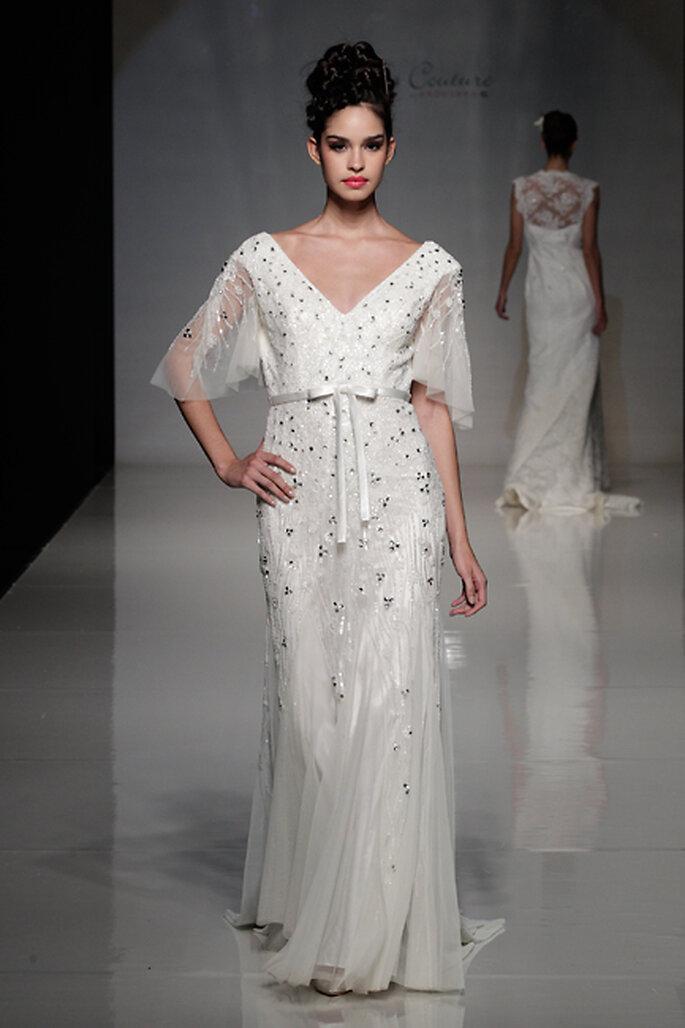 Vestido de novia con mangas de tul con bordados - Foto Anoushka G 2013