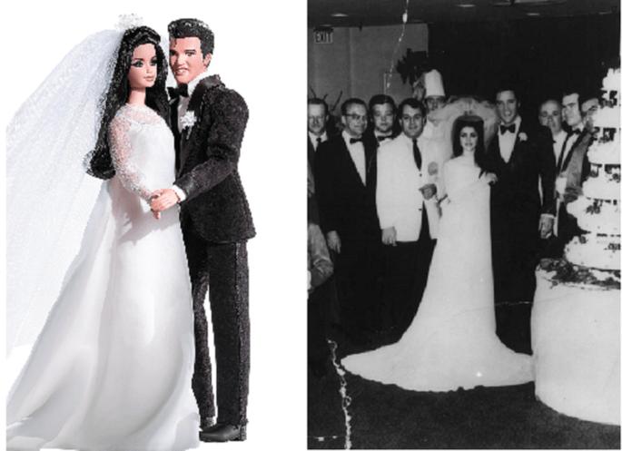 Barbie también reprodujo la boda de Elvis y Priscilla en 1967 en las Vegas. Foto: Barbie Collector.