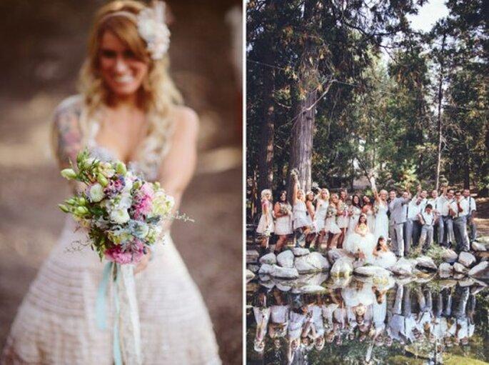 Bezaubernd: Bei einer ländlichen Hochzeit darf der Brautstrauß wie selbst gemacht aussehen – Foto: sittinginatree wedding