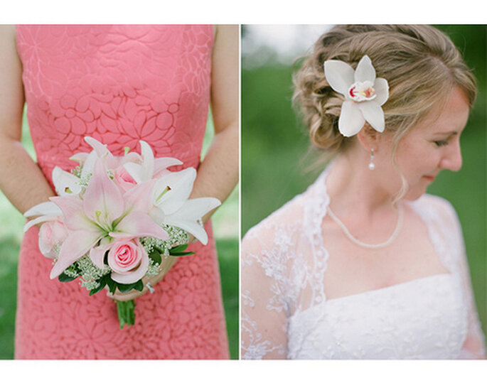 Rosa y blanco en el atuendo de la novia: una combinación ganadora. Foto: Amy Majors Photography