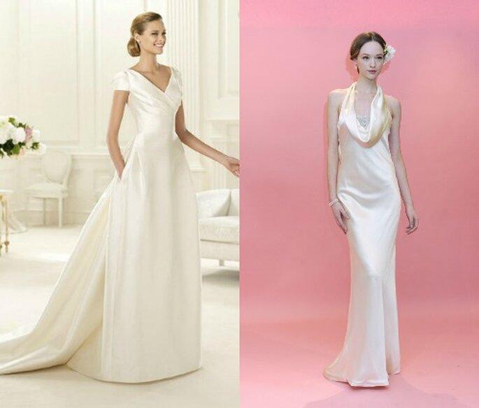 Altre due proposte di abiti da sposa in raso per il 2013 firmate Pronovias e Marchesa.