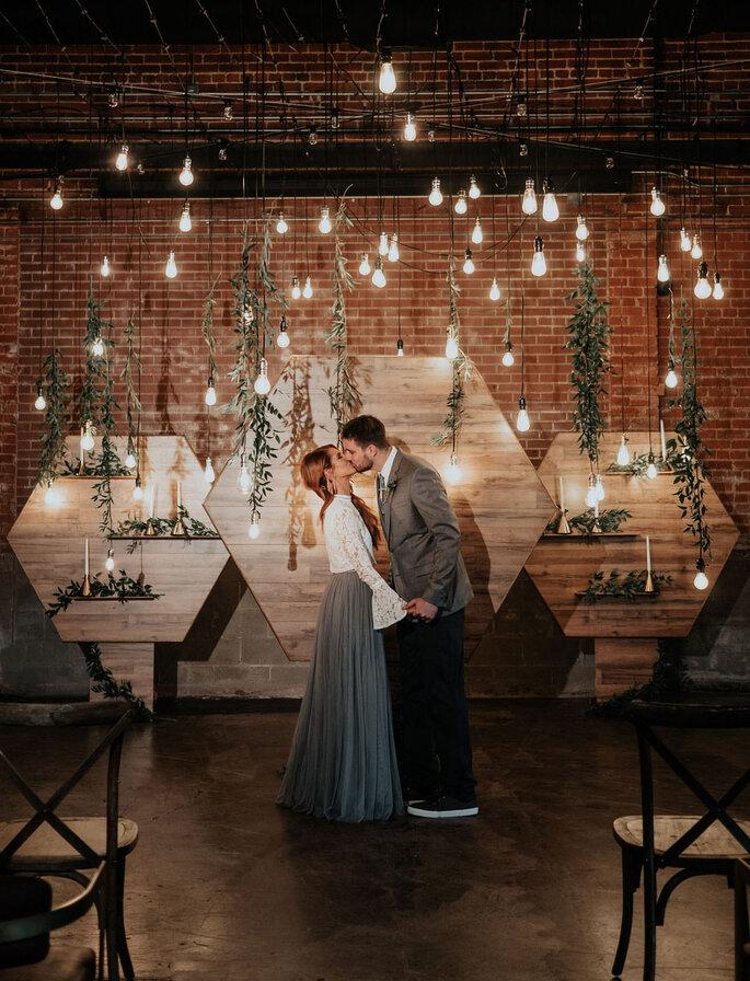 Decoración de boda estilo industrial