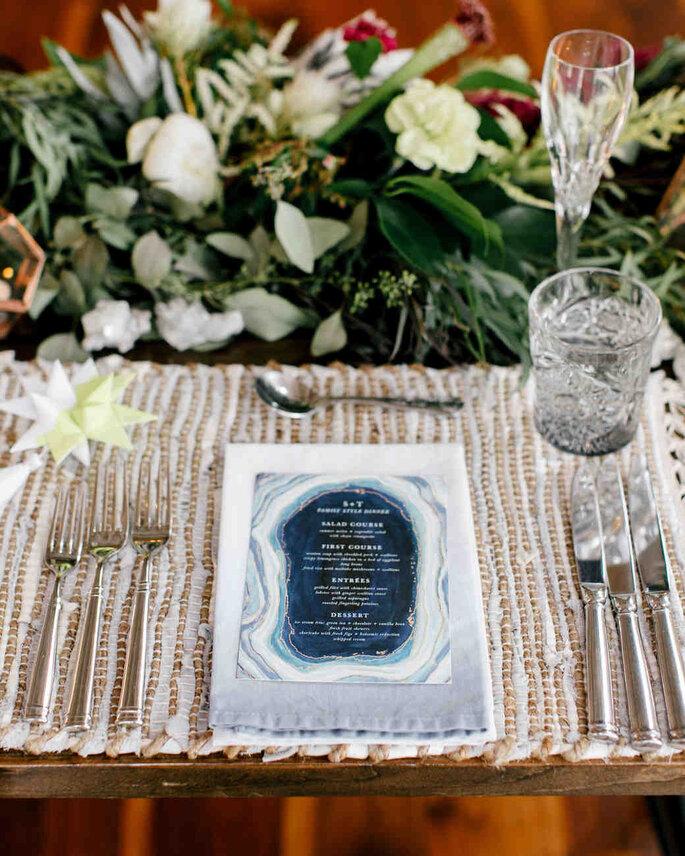 Menu para casamento com efeito marble