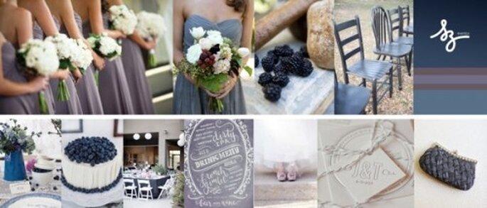 Collage de inspiración para decorar tu boda con la fruta blueberry - Foto Style Me Pretty y Shop Ruche. Diseño de Raisa Torres para SZ Eventos