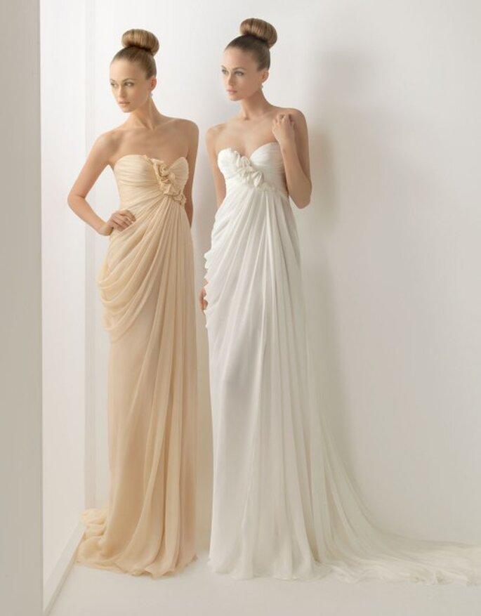 Stile dea greca per questi abiti taglio impero con scollo a cuore. Two by Rosa Clarà Collezione 2012