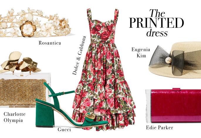 Vestido de Dolce & Gabbana, Sandalias de Gucci, Tiara de  Rosantica, Canotier de Eugenia Kim, Clutch dorado de Charlotte Olympia y Clutch acrílico de Edie Parker.